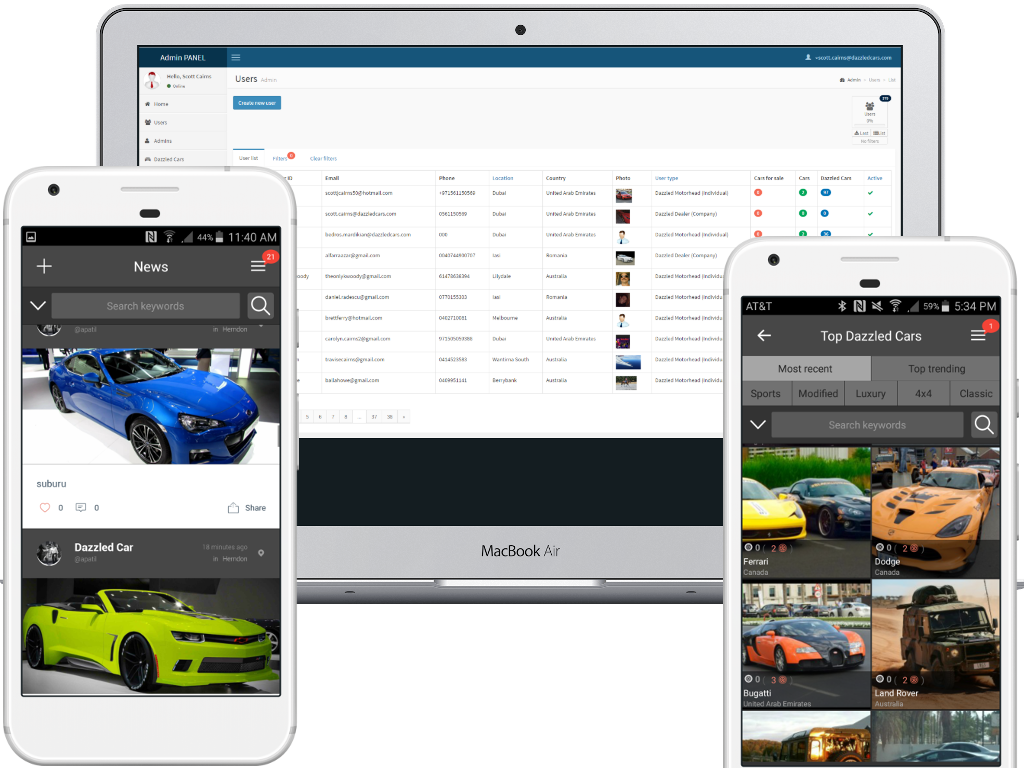 car sale mobile and web app