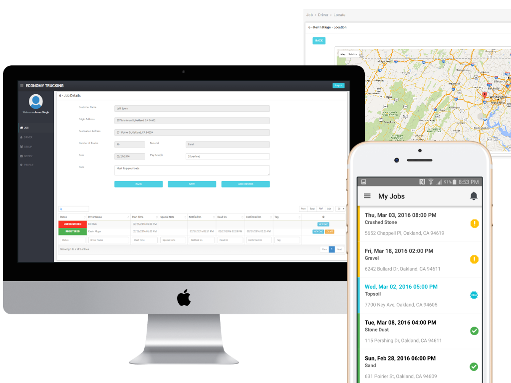 dispatch map and gps tracking web app